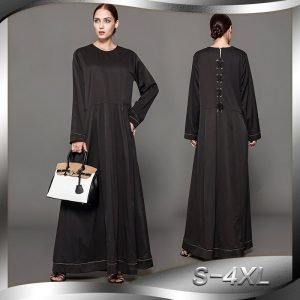 Black Abaya Dress O Neck Long Sleeve S-4XL Plus Size with Patchwork
