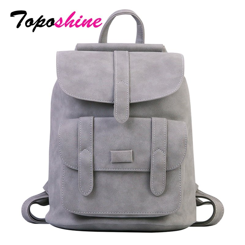Solid Color PU Leather & Soft Handle Backpacks with Interior Zipper