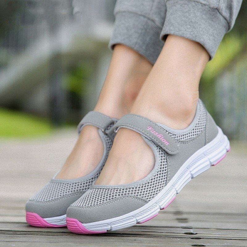 Soft Breathable Cotton Fabric Flat Sneakers Shoes with Hook & Loop