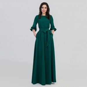 New Elegant 2019 Round Neck & Long Sleeve Solid color Maxi Abaya with packet Robe