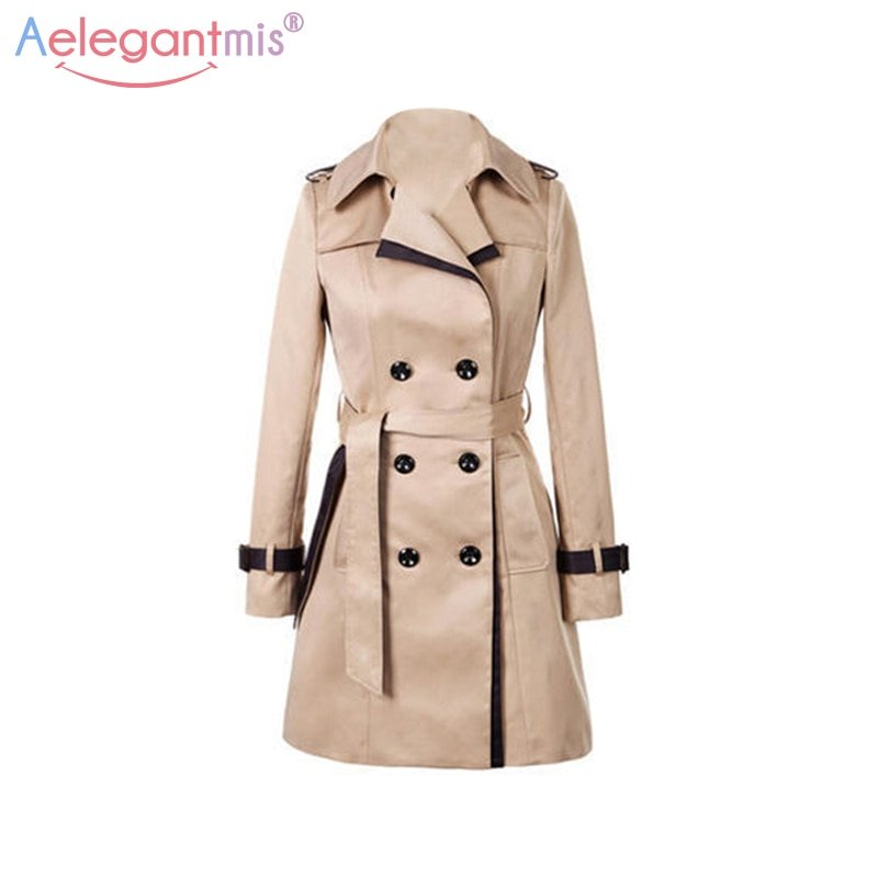 Double Breasted Turn-down Collar & Full Sleeve Trench Coat with Belt