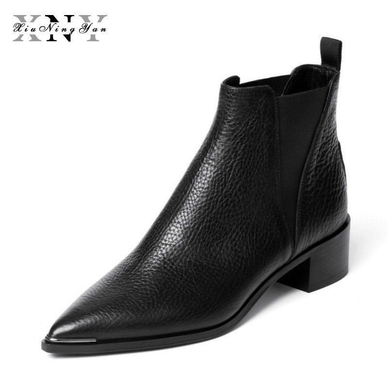 Square heel Genuine Leather & Rubber Ankle Boots with Elastic