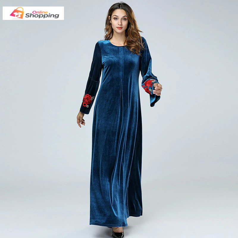 New Casual Long Sleeve Velvet Navy Blue Abaya with Floral Embroidery