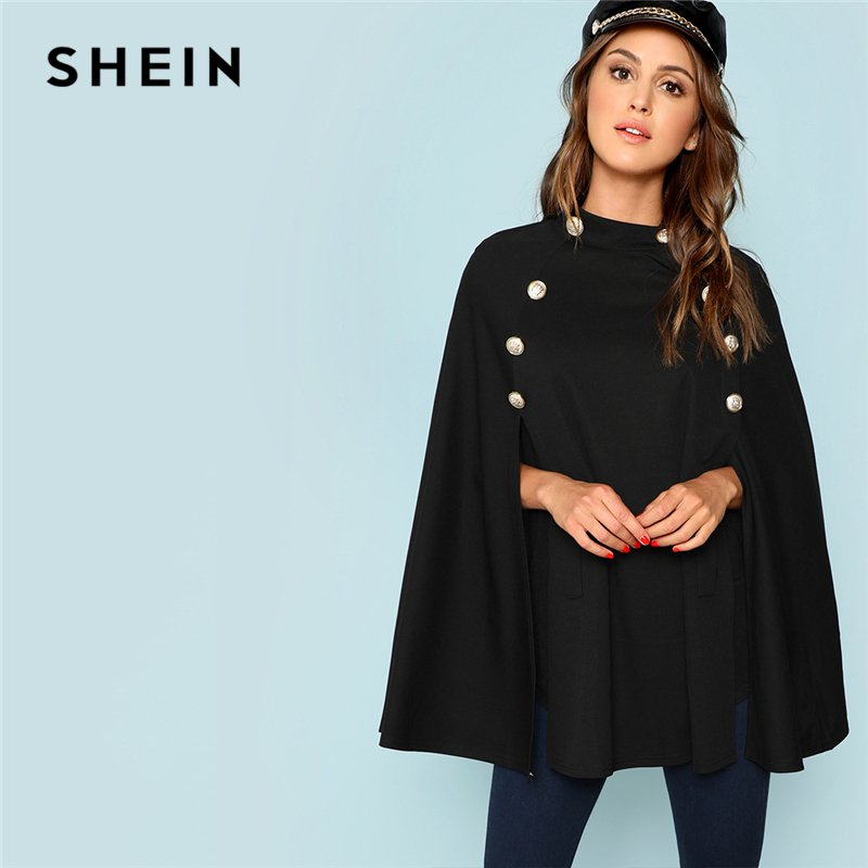 O-Neck & Bat Sleeved Double Breasted Black Trench Coat with Buttons