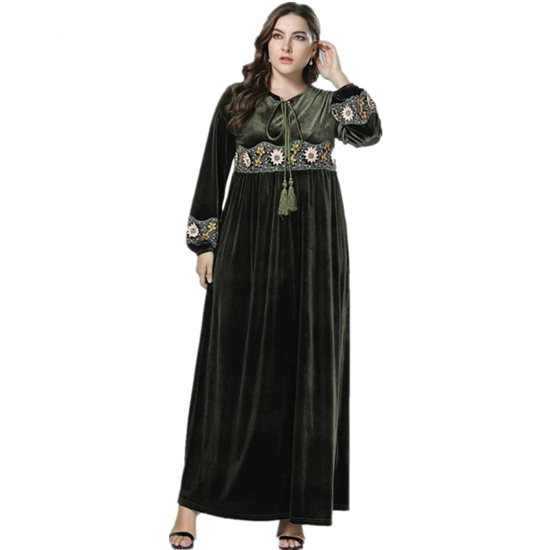 Classy Long Sleeve & Velvet Green Abayas with Flowers Embroidery