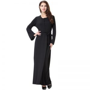 Abaya Plain Black Dress O Neck Long Sleeve Patchwork with Robe
