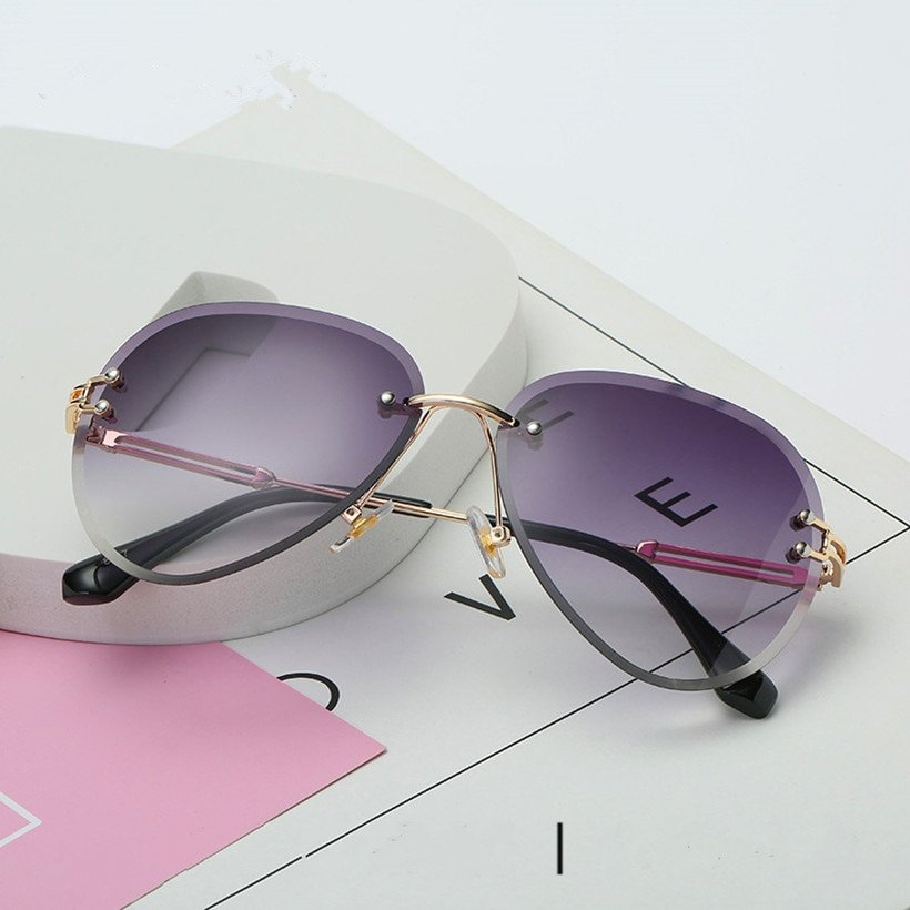Rimless Alloy Metal Frames & Polycarbonate UV Protection Lens Sunglasses
