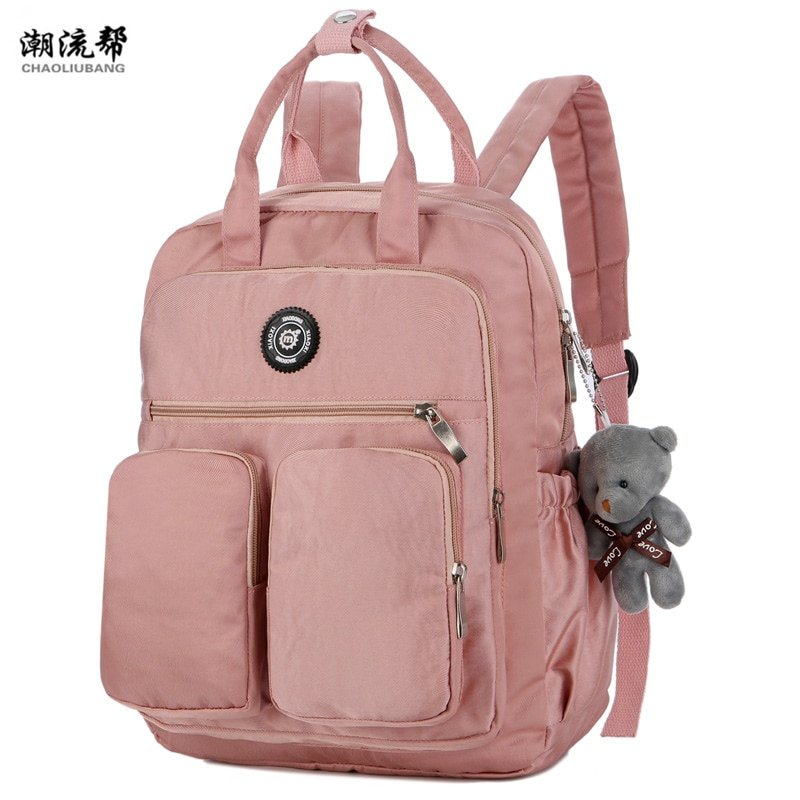 Nylon Waterproof Soft Handle & Solid Color Multi-pocket Backpacks