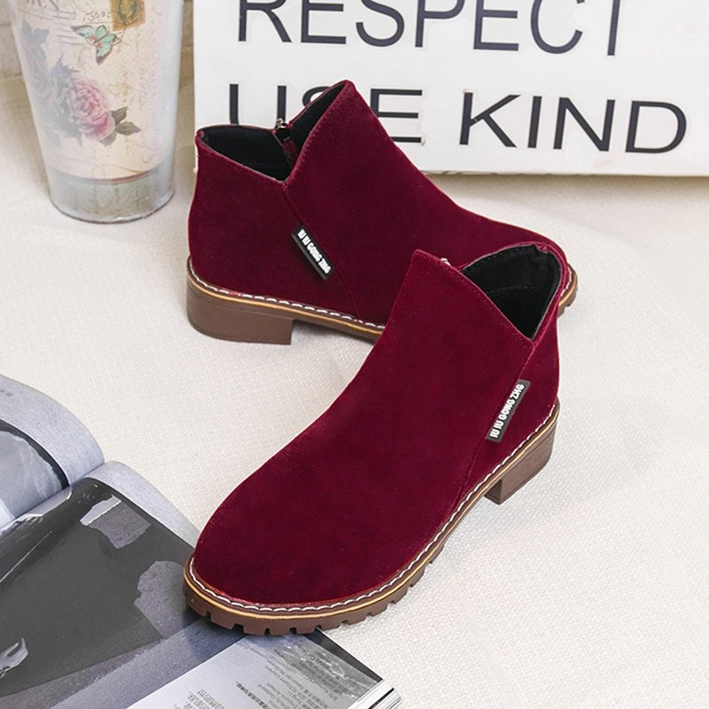 Solid Faux Suede Low Heel & Polyester Shaft Rubber Ankle Boots