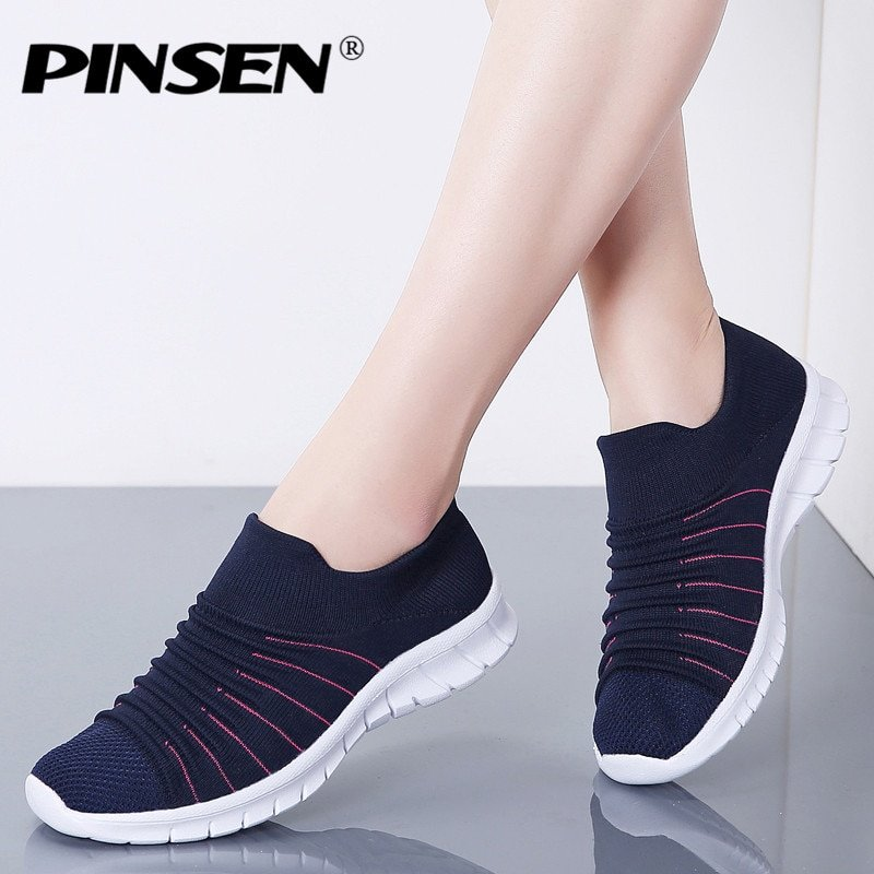Cotton Fabric Latex & Breathable Air mesh Flats Shoes with Round Toe