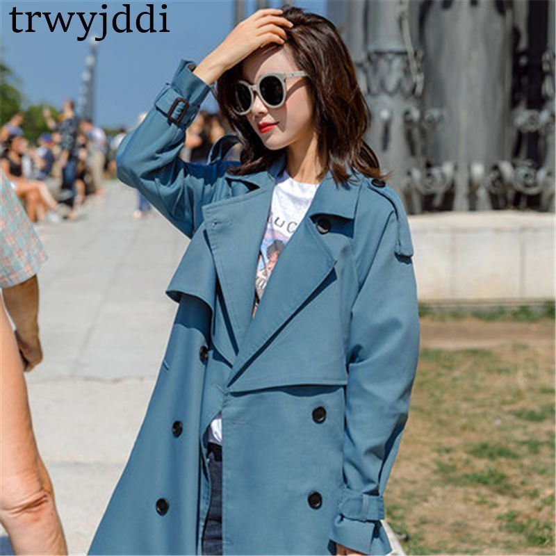 Cotton Double Breasted Full Sleeve & Turn-down Collar Trench Coat