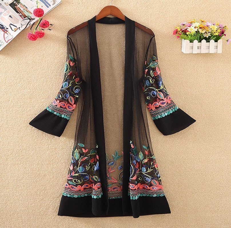 Transparent Front Open & Long Sleeve Outerwear Jackets with Floral Embroidery