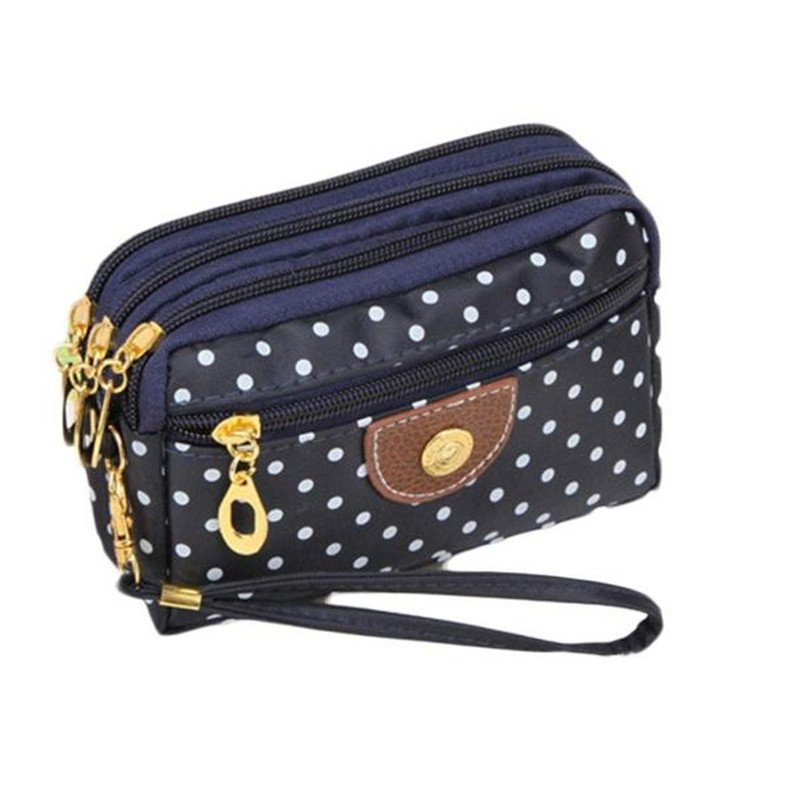Canvas Dot Pattern Polyester & Soft Wristlets Bag with Interior Compartment