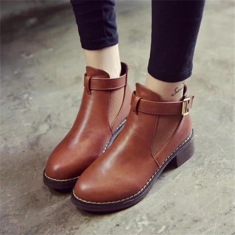 PU Leather Cotton Fabric Lining & Solid Ankle Martin Boots with Buckle Strap
