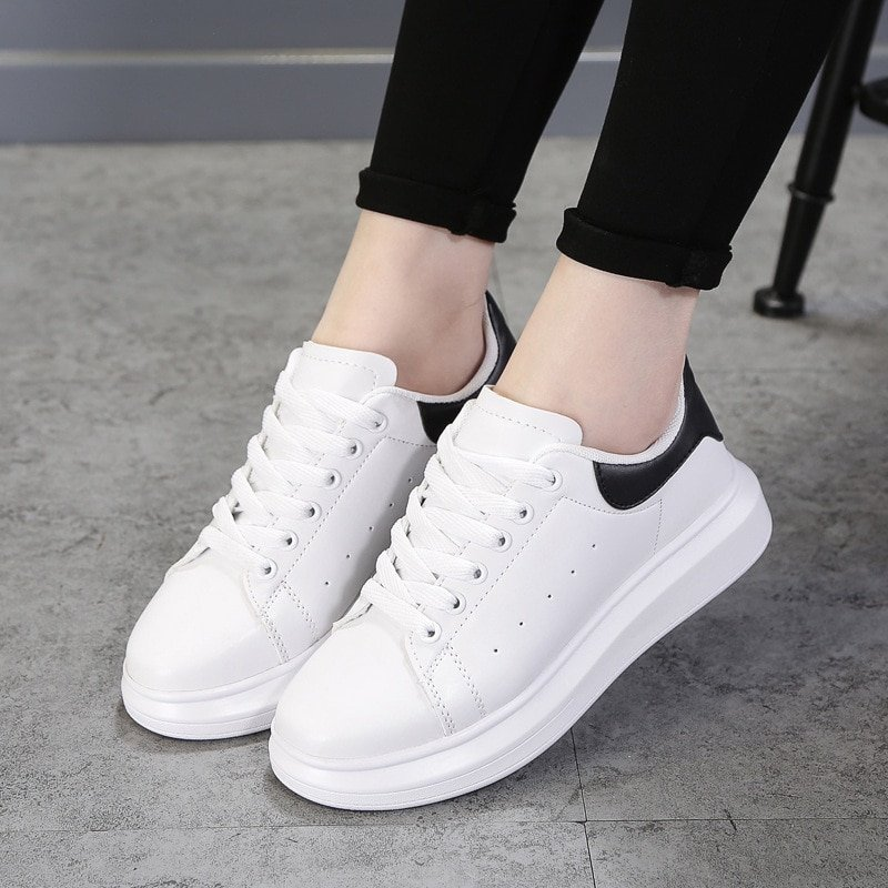 Pu Leather Cotton Fabric & Lace-up Sneakers Flat Shoes with Round Toe