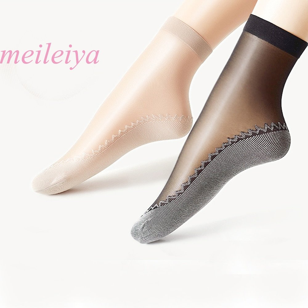 10 Pairs New Velvet  Cotton Bottom & Soft Non Slip Silk Ankle Socks