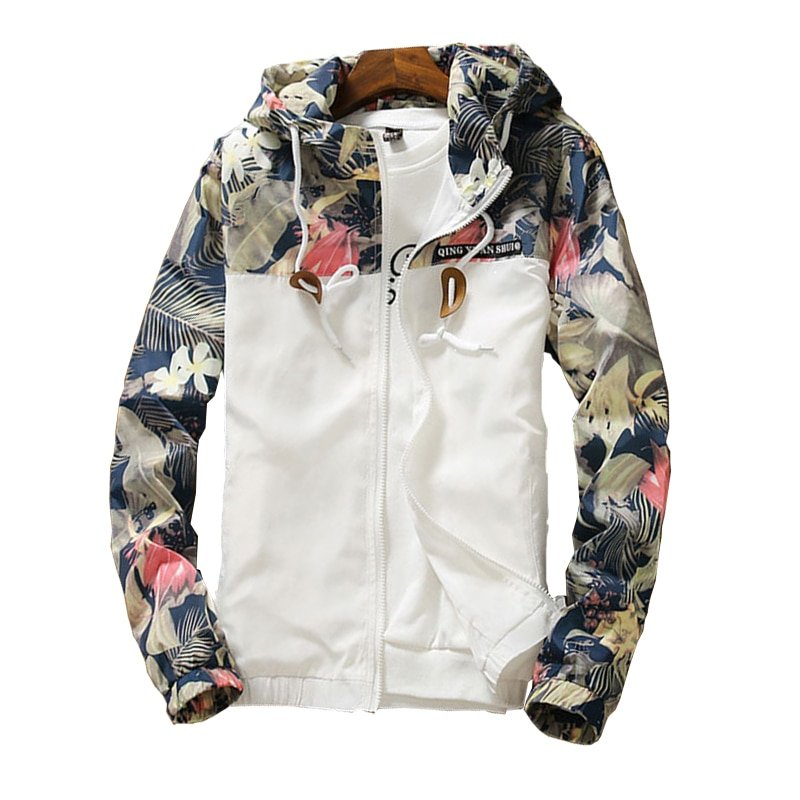 Wide-waist Turn-down Collar & Long Sleeve Hooded Jackets with Printed