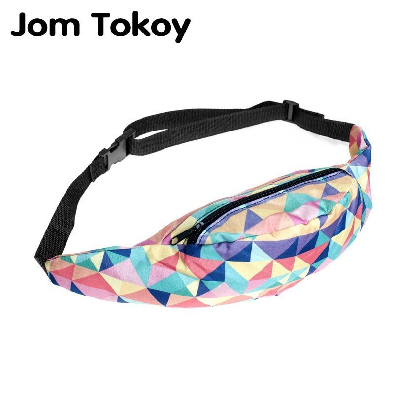 Colorful Goemetric Pattern & Polyester Belt Waist Pack forTravelling