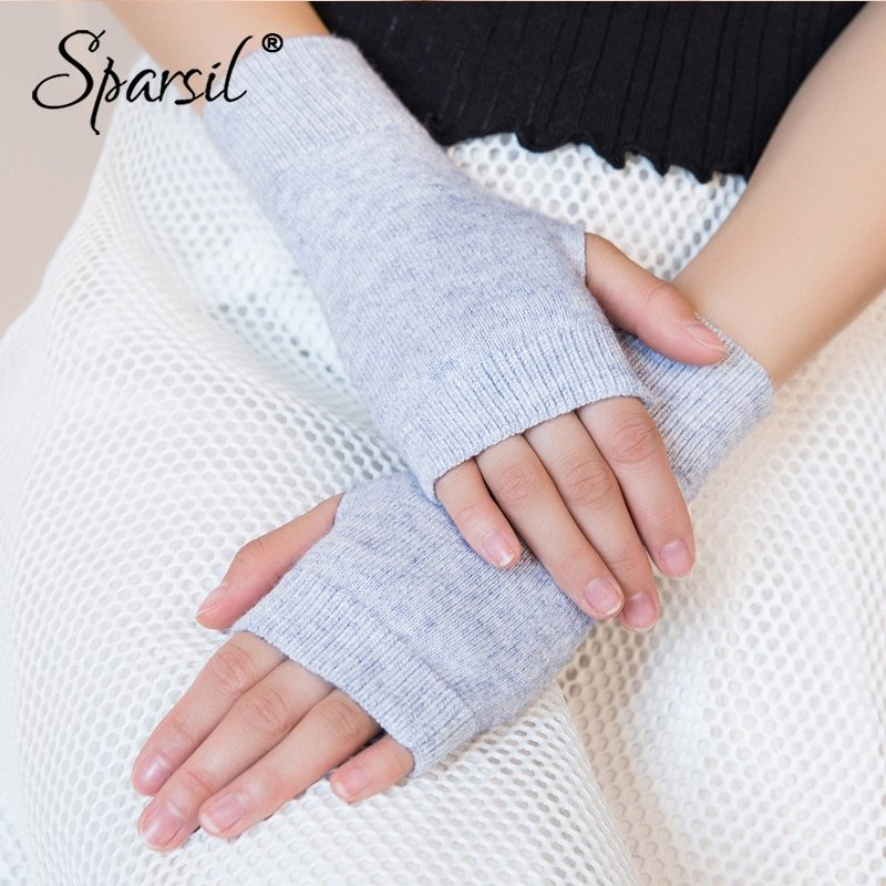 New Style Solid Stretch Knitted Fingerless Wool Warm Glove