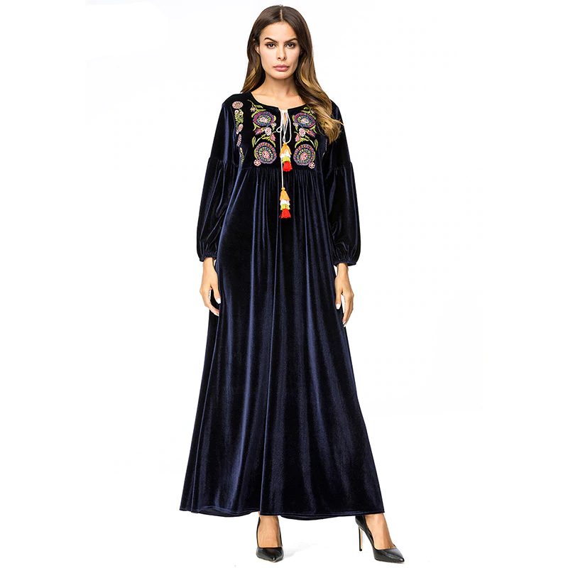 Vintage Long Sleeve & Plus Size 4XL Velvet Abaya with Floral Embroidery