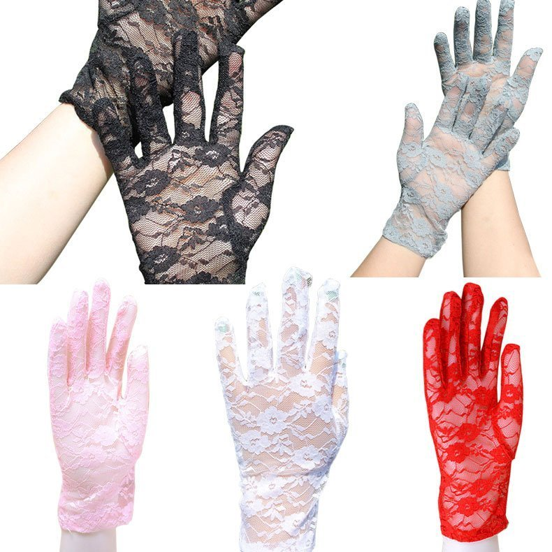 New Elegant Hollow Out Sun Protection & Floral Pattern Lace Gloves