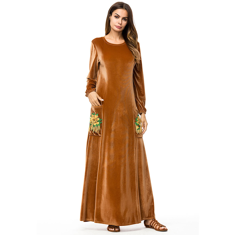 Round Neck & Loose Velvet Flower Embroidery Abaya with Pockets