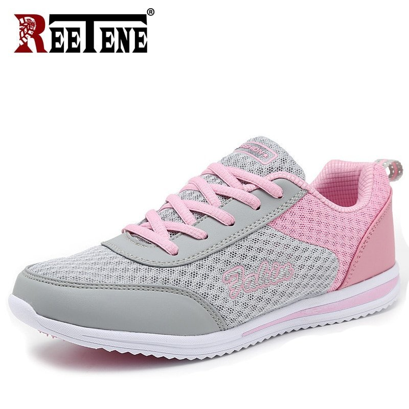 Breathable Air Mesh & Round Toe Shape Flats Sneakers Shoes with lace-up