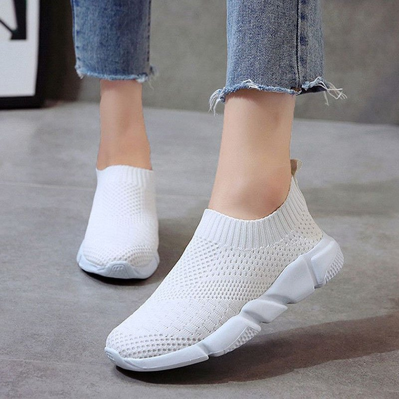 Stretch Fabric Solid Pattern & Breathable Rubber Slip-On Flat Shoes