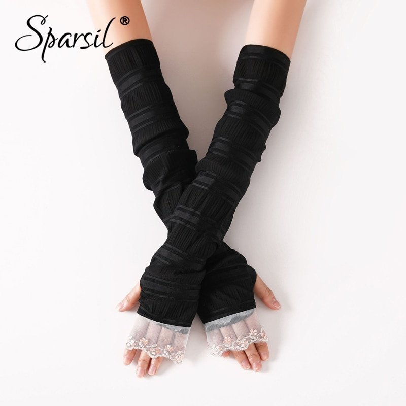 Long Elbow Length & Sunscreen Fingerless Gloves with Lace