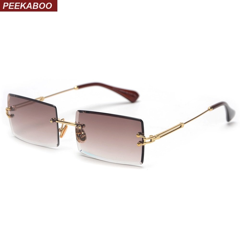 Rectangle Rimless Alloy Frames & Polycarbonate UV treated Lens Sunglasses