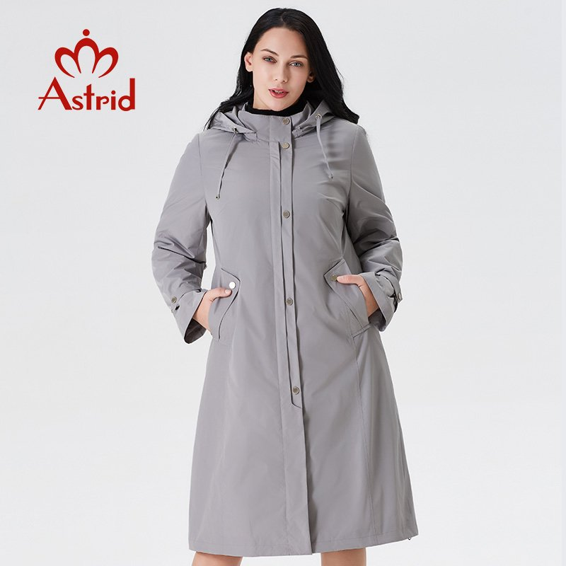 Solid color Plus Size 5XL O-Neck & Long Sleeve Trench Coat with Zipper