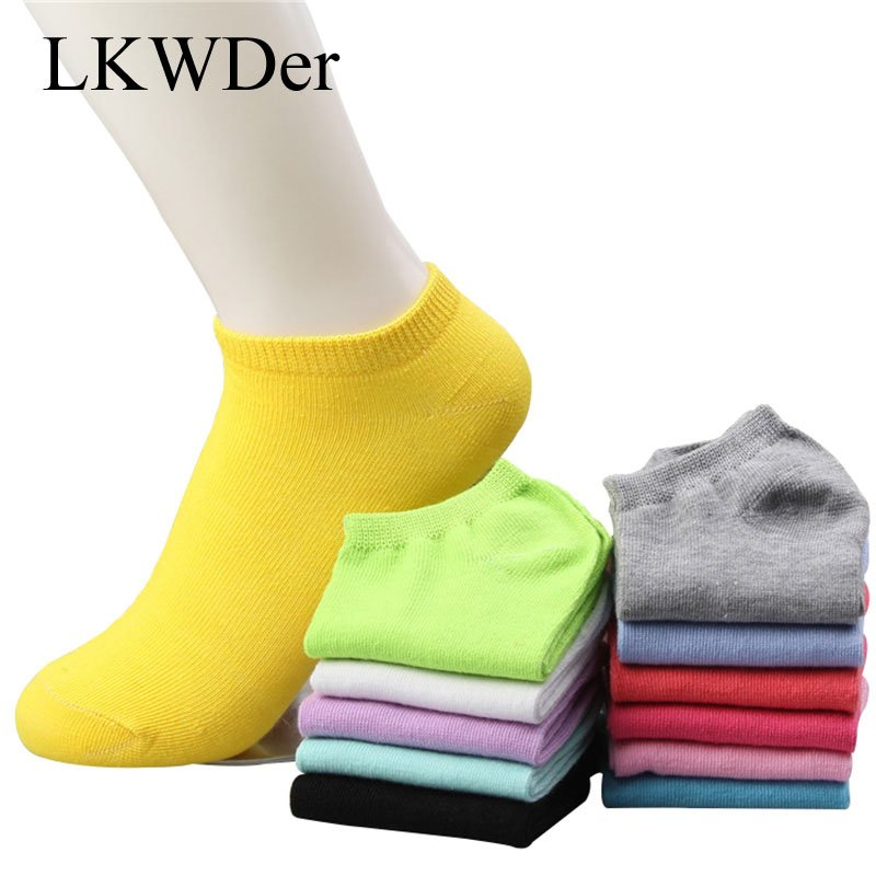 5pairs Candy Color Soft Ankle length & Thin Cotton Socks Slippers