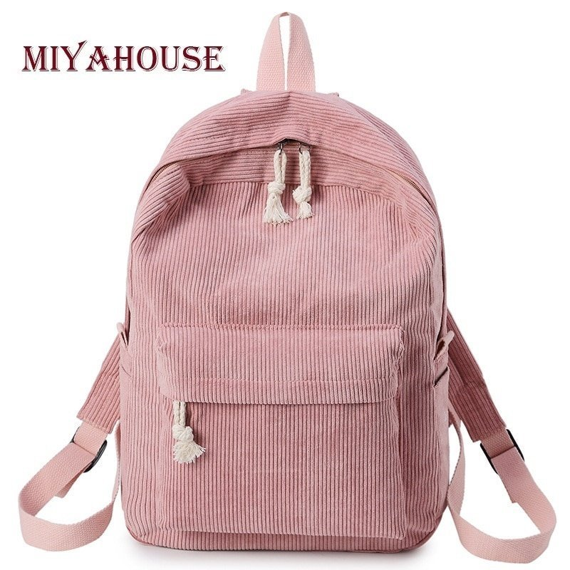 Preppy Style Soft Fabric Backpacks with Interior Compartment
