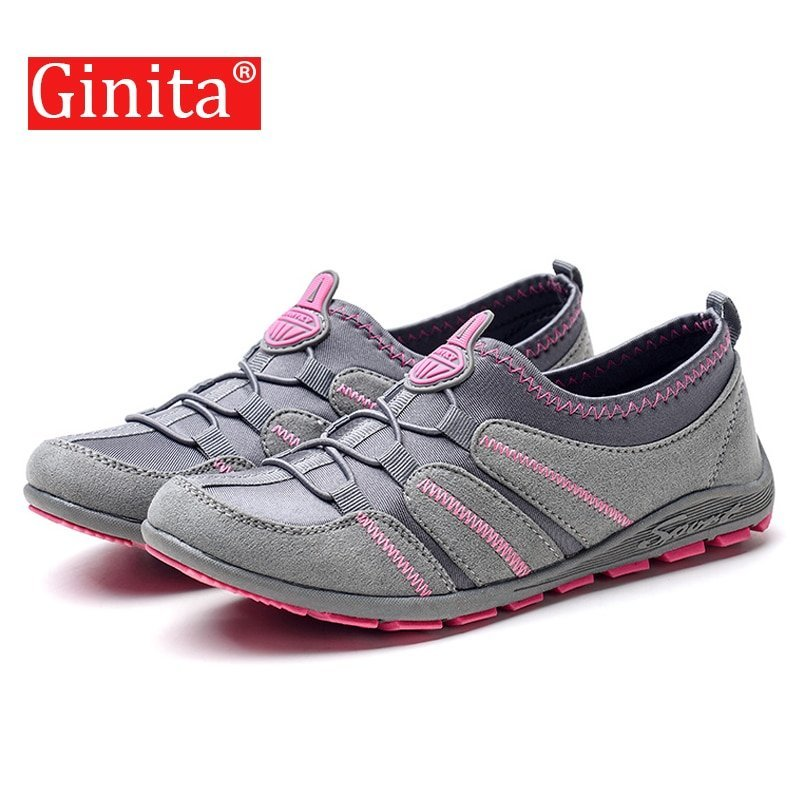 Comfortable Cotton Fabric & Latex Flat Sneakers Shoes with Elastic Band