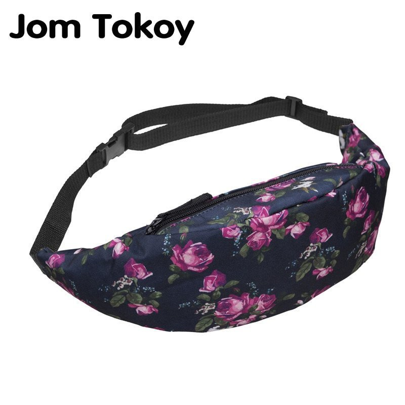 New Colorful Floral Pattern & Polyester Waist Pack with Zipper