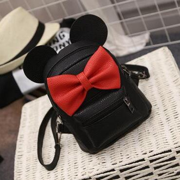 Mickey Pu Leather & Arcuate Shoulder Strap Mini Backpack with Bow Decor