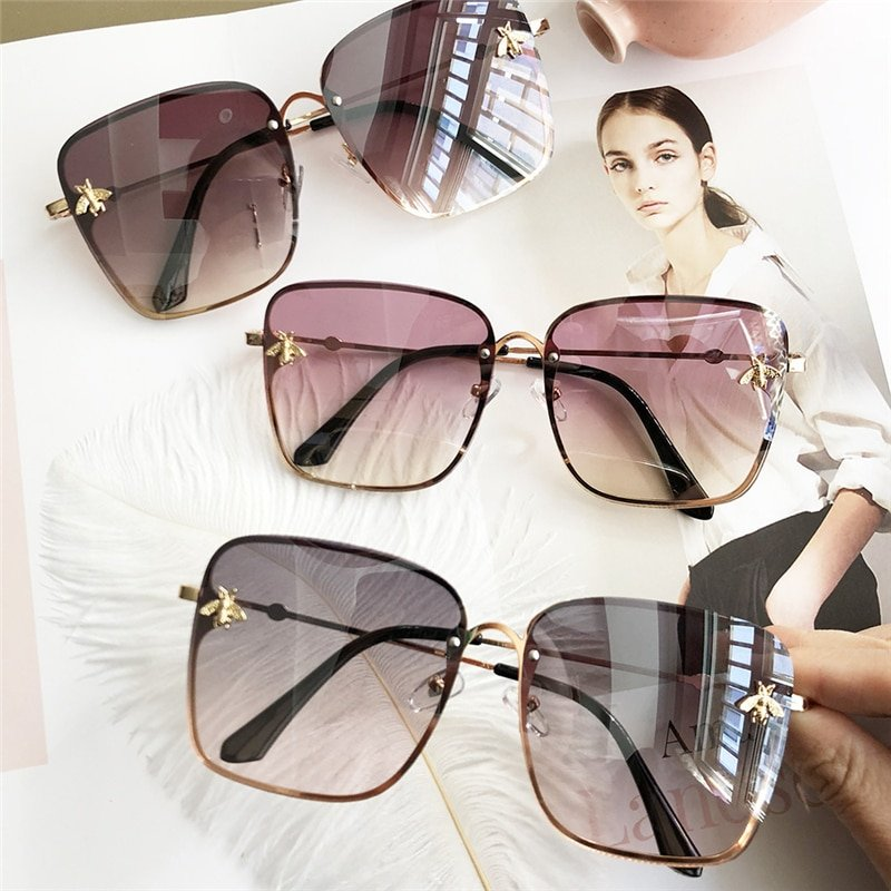Oversize Square Alloy Frames & Plastic UV Treated Lens Sunglasses