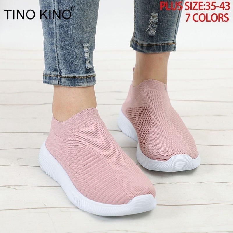 Breathable Mesh Fabric & Round Toe Shape Slip-on Flat Shoes with Rubber