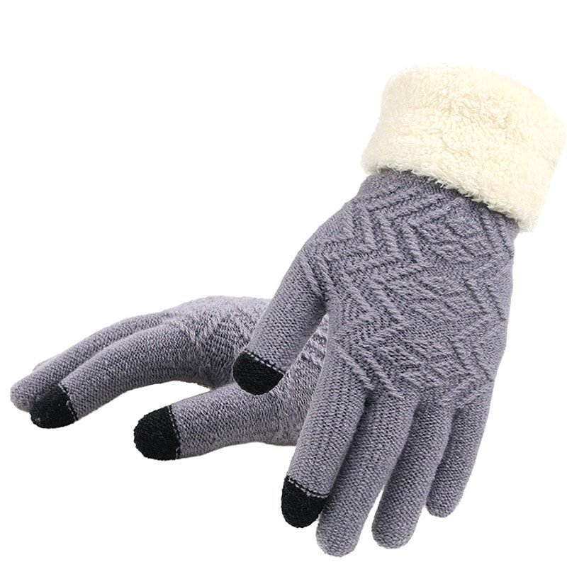 Stretch Knitted Touch Screen Full Finger & Thicken Warm Gloves