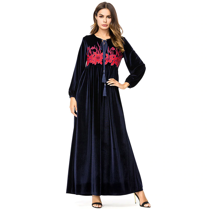 New Style Puff Sleeve & O-Neck Velvet Abaya with Floral Embroidery