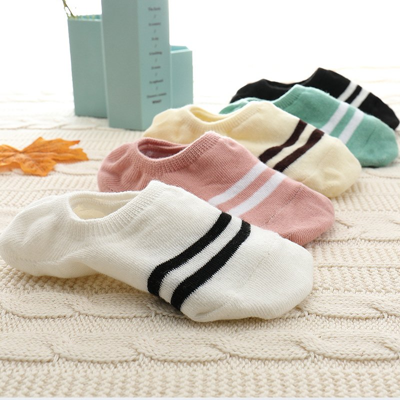 5Pairs Invisible Stripped Anti Slip & Breathable Cotton Socks
