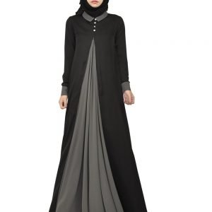 Fashion Black Abaya Dress silk material with Appliques design