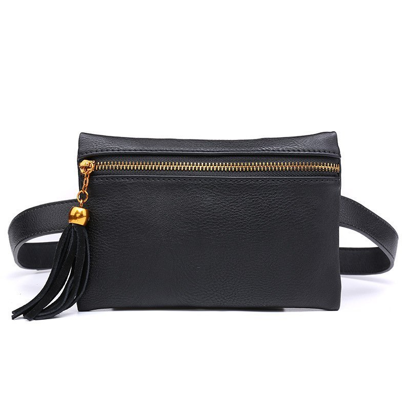 Pu Leather Solid Pattern & Box Shape Waist Bags with Tassel Design