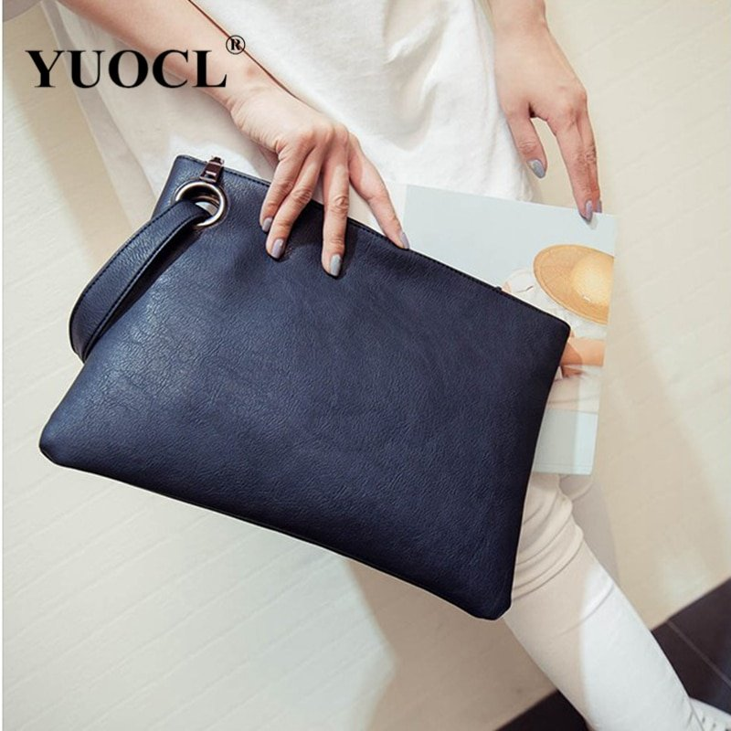 Envelope Shape Soft PU Leather & Polyester Lining Wristlets Bags