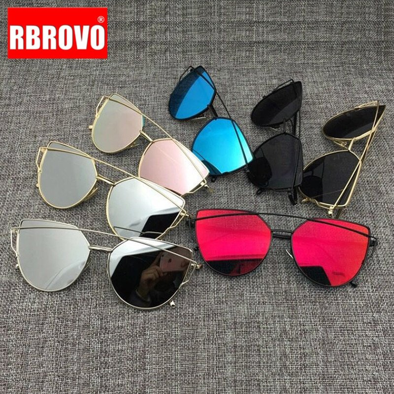 Cat eye Alloy Metal Frames & Polycarbonate Mirror Lens Sunglasses