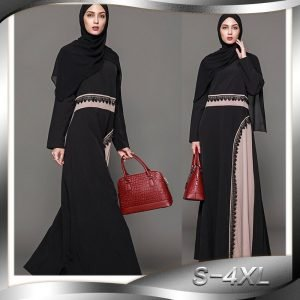 Fashion Abaya Black Dress Plus Size S-4XL Patchwork with Appliques