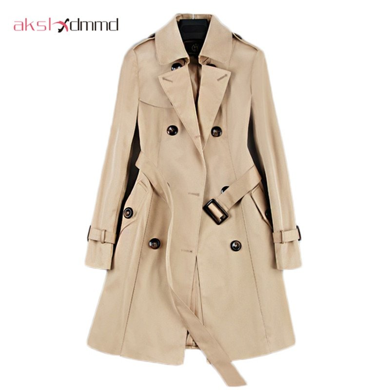 Double Breasted Turn-down Collar & Full Sleeve Mid-long Trench Coat