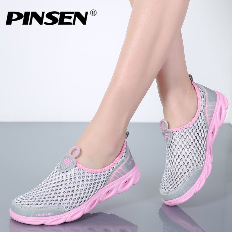 Casual Breathable Air mesh & Latex Flat Shoes with Round Toe Shape