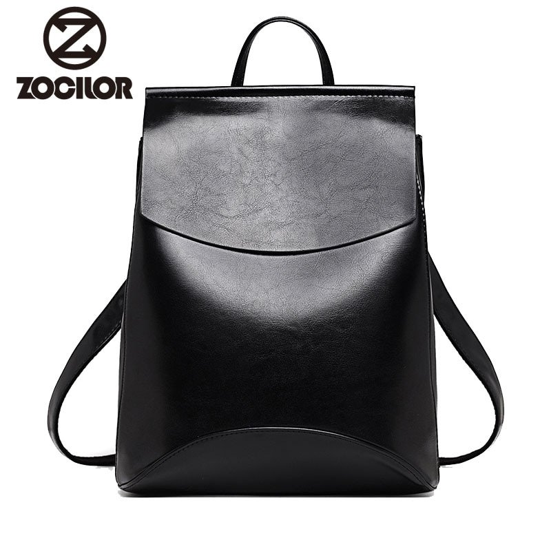 PU Leather & Polyester Lining Backpacks with Arcuate Shoulder Strap