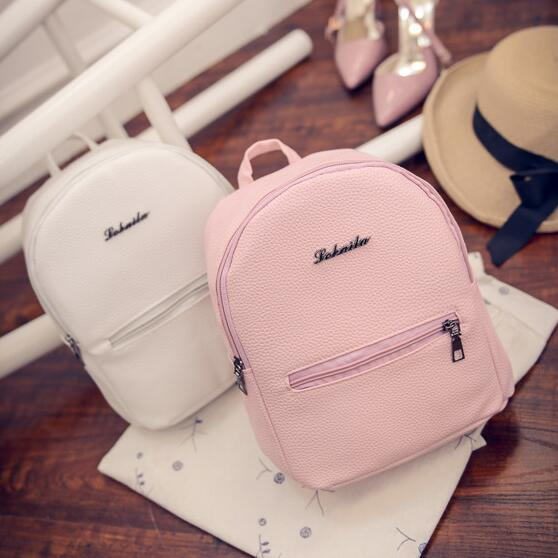 Preppy Style candy color & PU leather Mini Backpacks with Soft Handle Strap